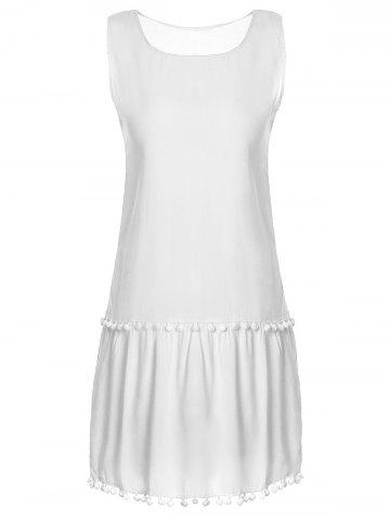 Trendy Sweet Round Collar White Sleeveless Dress For Women - M WHITE Mobile