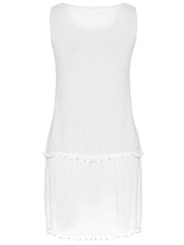 Buy Sweet Round Collar White Sleeveless Dress For Women - M WHITE Mobile