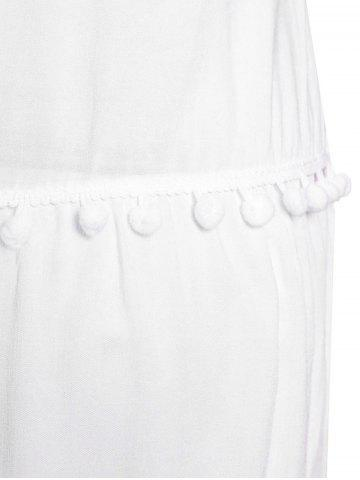Hot Sweet Round Collar White Sleeveless Dress For Women - M WHITE Mobile