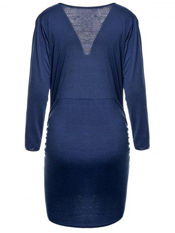 Discount Deep Plunging Neck Long Sleeve Bodycon Wrap Dress - M BLUE Mobile