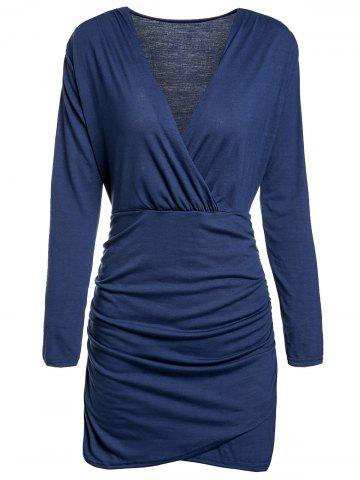 Chic Deep Plunging Neck Long Sleeve Bodycon Wrap Dress BLUE M