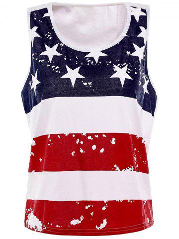 Discount Stylish Scoop Neck Sleeveless American Flag Print Women's Tank Top