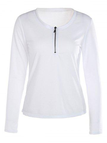 Sale Trendy White Scoop Neck Zippered Long Sleeve T-Shirt For Women