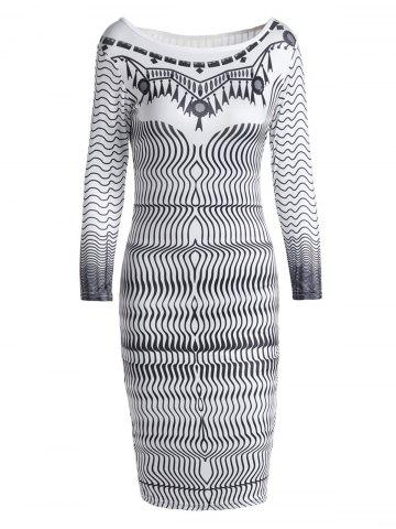 Stylish Round Collar 3/4 Sleeve Printed Bodycon Women's Dress - WHITE S