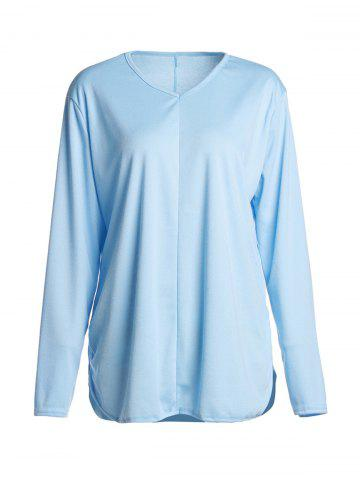 Fashion Simple V Neck Long Sleeve Pure Color Asymmetrical Women's T-Shirt - XL BLUE Mobile