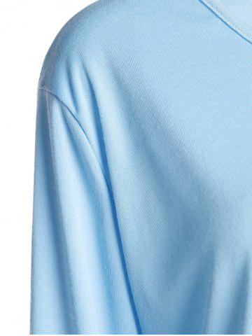 Affordable Simple V Neck Long Sleeve Pure Color Asymmetrical Women's T-Shirt - XL BLUE Mobile