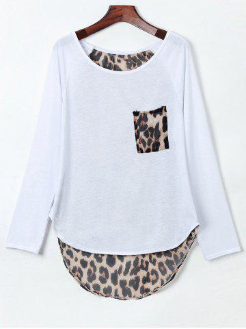 Stylish Jewel Neck Long Sleeve Leopard Spliced Slit Women's T-Shirt