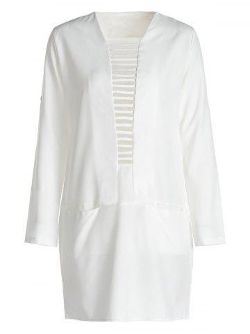 Ladder Cut Out Long Sleeve Shift Dress - White - Xl