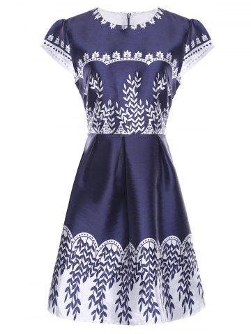 Chic Vintage Jewel Neck Print Short Sleeves Dress For Women