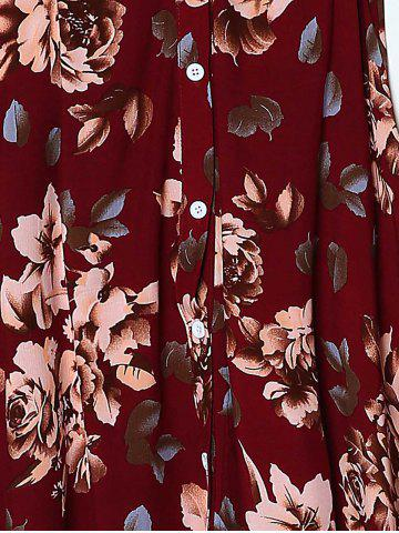 Hot Bohemian Spaghetti Strap Sleeveless Floral Print Hollow Out High Slit Dress For Women - M DEEP RED Mobile
