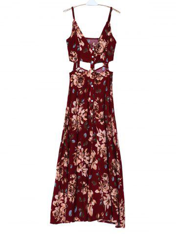 Discount Bohemian Spaghetti Strap Sleeveless Floral Print Hollow Out High Slit Dress For Women - M DEEP RED Mobile