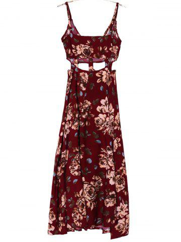 Outfits Bohemian Spaghetti Strap Sleeveless Floral Print Hollow Out High Slit Dress For Women - M DEEP RED Mobile