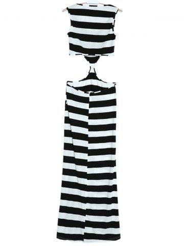 Fancy Maxi Striped Cut Out Sleeveless Summer Dress - S WHITE AND BLACK Mobile