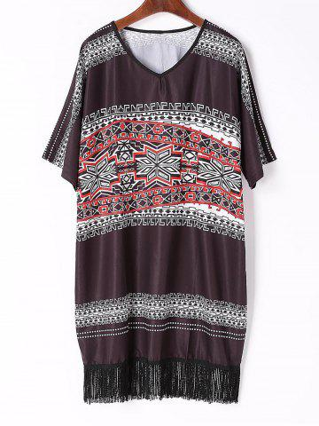 Buy Chic V Neck Half Sleeve Printed Fringed Women's Dress - Black M