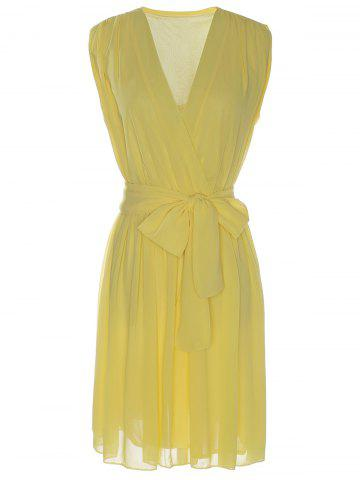 Store Sexy V-Neck Sleeveless Bowknot Embellished Women's Chiffon Dress