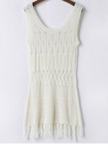 Shop Scoop Neck Open Knit Beach Tunic Cover Up - ONE SIZE(FIT SIZE XS TO M) WHITE Mobile