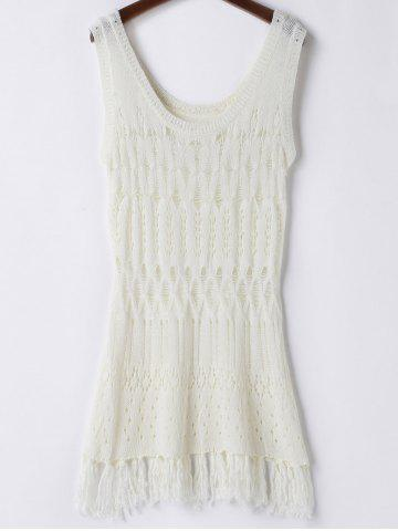 Store Scoop Neck Open Knit Beach Tunic Cover Up WHITE ONE SIZE(FIT SIZE XS TO M)