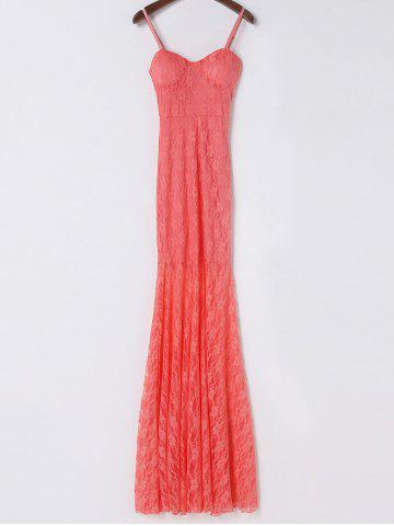 Outfits Elegant Spaghetti Strap Sleeveless Solid Color Lace Women's Dress - M PINK Mobile