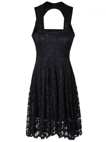 Trendy Sweetheart Lace Backless A Line Short Formal Dress BLACK M
