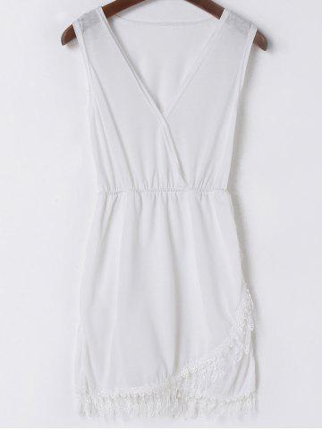 Outfits Sexy V-Neck Sleeveless Fringe White Dress For Women