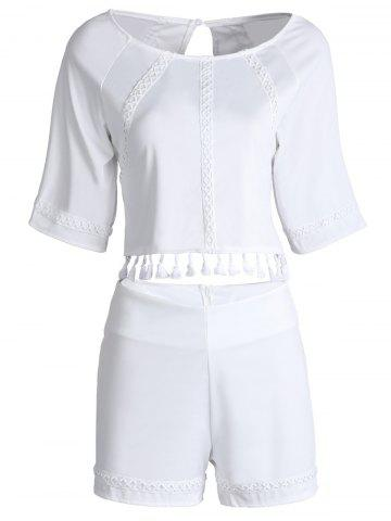 Unique Stylish Round Neck Short Sleeves Hollow Out Fringe Backless Blouse and Shorts Suit For Women WHITE S