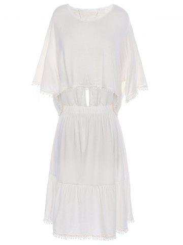 Stylish V-Neck Short Sleeve Loose-Fitting Crop Top + Solid Color Skirt Women's Twinset - WHITE M