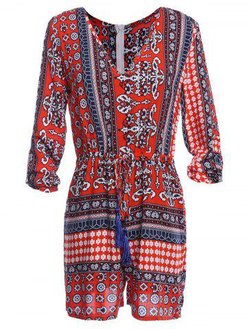 Discount Paisley Printed Romper RED M