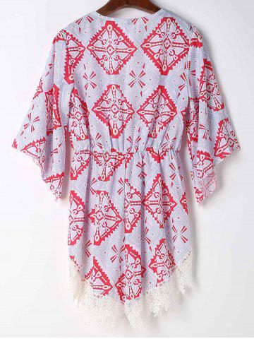 Latest Stylish Plunging Neck Printed Lace Embellished Women's Romper - S GRAY Mobile