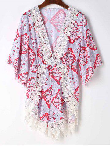 Online Stylish Plunging Neck Printed Lace Embellished Women's Romper - S GRAY Mobile