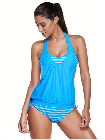 Latest Halter Stripe Print Tankini Bathing Suits LAKE BLUE 2XL