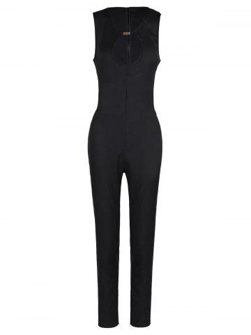 Cheap Sexy Round Neck Sleeveless Hollow Out Women's Jumpsuit BLACK S