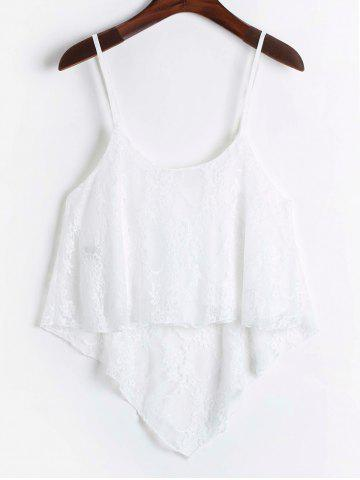 Affordable Stylish Spaghetti Strap Sleeveless White Lace Tank Top For Women