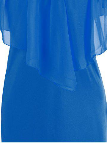 Cheap Stylish V-Neck Off-The-Shoulder Solid Color Flounce Chiffon Dress For Women - L BLUE Mobile