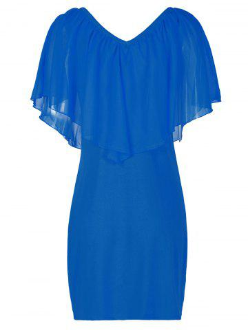 Hot Stylish V-Neck Off-The-Shoulder Solid Color Flounce Chiffon Dress For Women - L BLUE Mobile