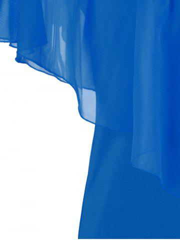 Best Stylish V-Neck Off-The-Shoulder Solid Color Flounce Chiffon Dress For Women - L BLUE Mobile