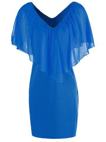 Affordable Stylish V-Neck Off-The-Shoulder Solid Color Flounce Chiffon Dress For Women - L BLUE Mobile