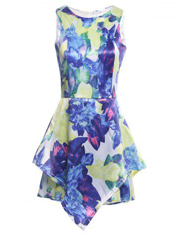 Hot Floral Print Sleeveless Romper - S COLORMIX Mobile