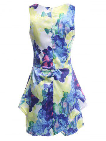 Fashion Floral Print Sleeveless Romper - S COLORMIX Mobile