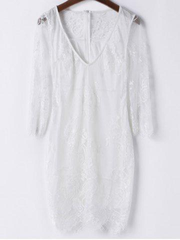 Plongeant Sexy cou à manches 3/4 Solid Color See-Through Dress Women 's  Lace Blanc S
