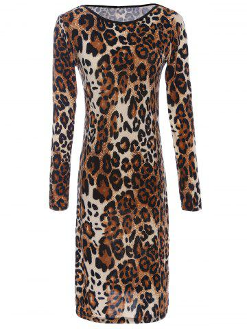 Discount Long Sleeve Leopard Print Backless T-Shirt Dress