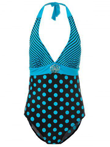 Sexy Halter Striped Polka Dot One-Piece Maillots de bain pour femmes Pers 2XL