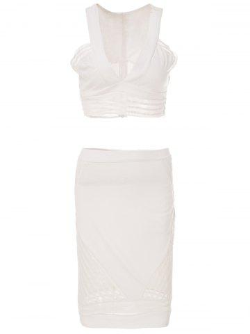 Affordable Stylish Plunging Neck Sleeveless Short Tank Top and Skirt Suit For Women - M WHITE Mobile