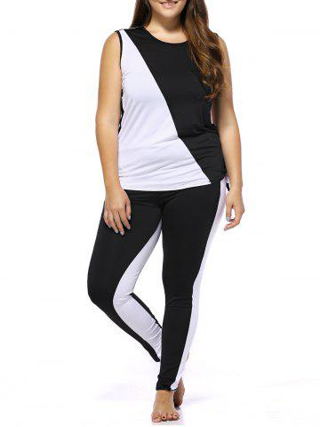 Outfits Stylish Color Block Tank Top + Pants Women's Twinset