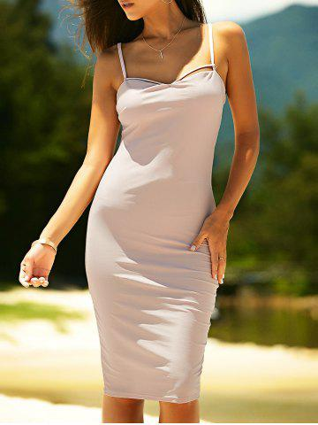 Outfits Bodycon Spaghetti Strap Criss-Cross Knee Length Dress PINKBEIGE XL
