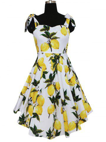 Outfit Refreshing Women's Bowknot Design Lemon Pattern Pleated Dress