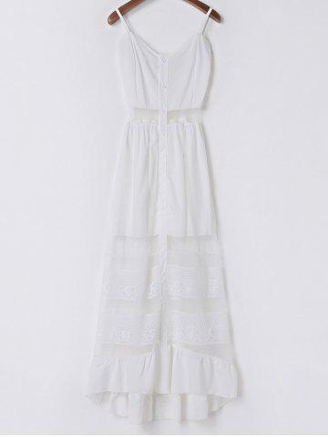 Latest Elegant Spaghetti Strap See-Through Women's Dress WHITE S