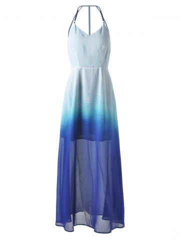 Long Ombre Backless Slip Prom Dress - Deep Blue - S