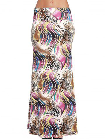 Fashion Chic Abstract Print Long High-Waist Skirt For Women