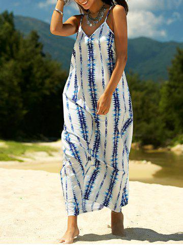 Affordable Stylish Spaghetti Strap Tie Dyed Maxi Dress For Women