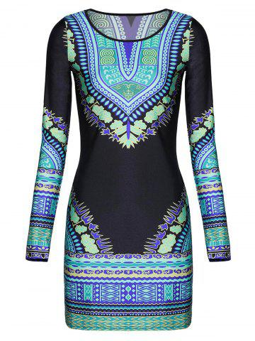 Fashion Long Sleeve Printed Bodycon Dress COLORMIX L